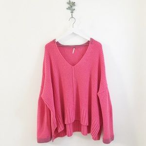 Free People Take Me Over Sweater Pink M/L